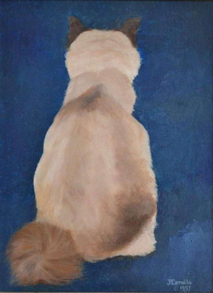 1997, Cyrus, achterkant, 40x50, olieverf, kattenportret, J. Comello