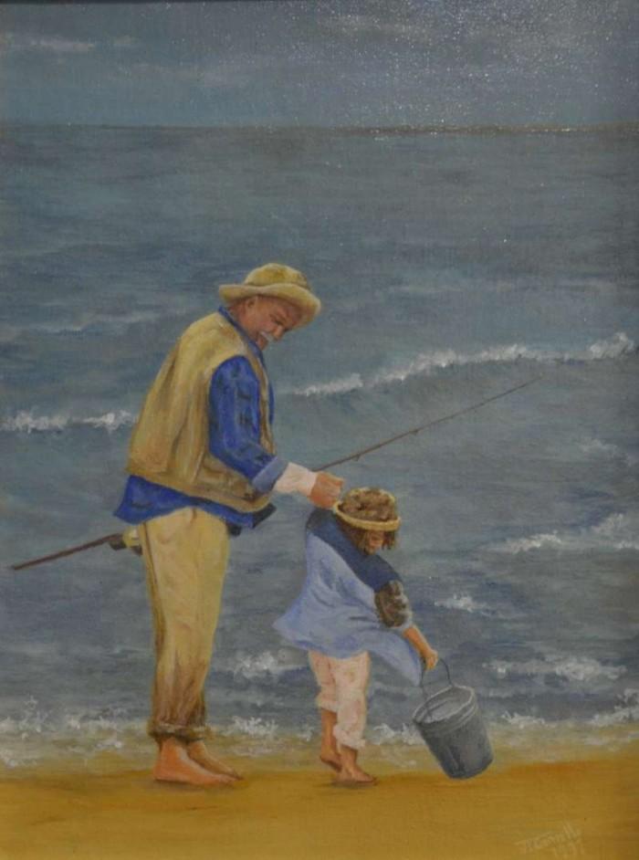 1997, Opa en Lara aan zee, 30x40, olieverf, J.Comello