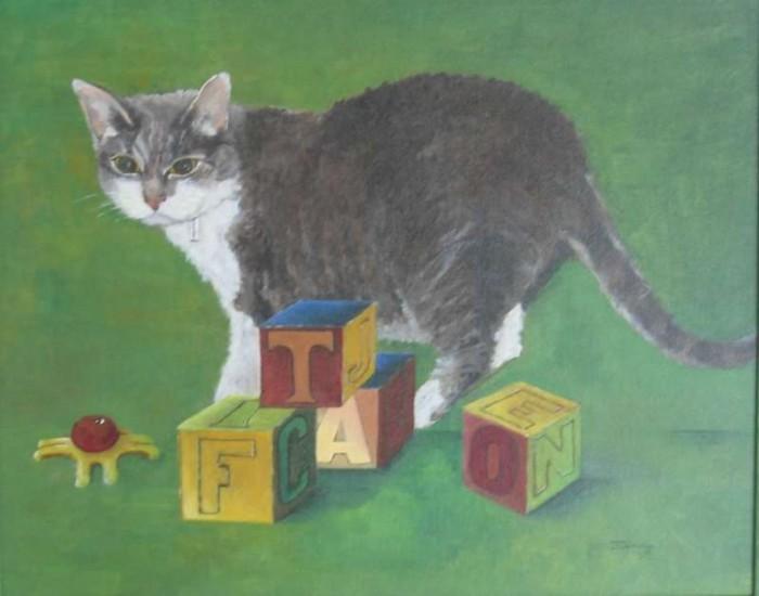 1998, Fientje voor Cato, 40x50, olieverf, kattenportret, J. Comello
