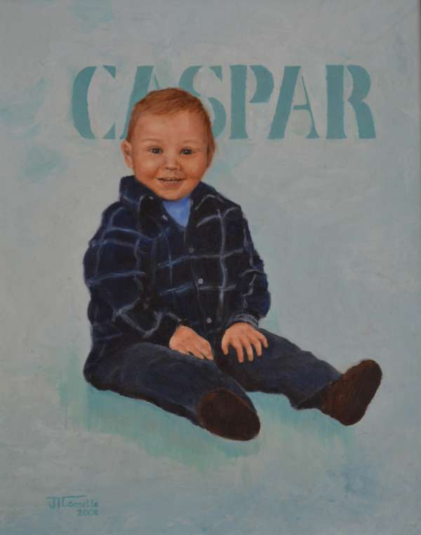 2002, Caspar, 13 mnd, 40x50, olieverf, portret door J. Comello