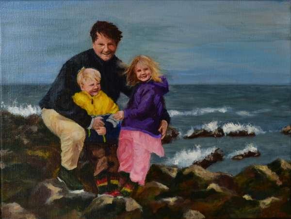 2004, Drietal portret Erwin, Lara en Caspar, 30x40, olieverf, J. Comello