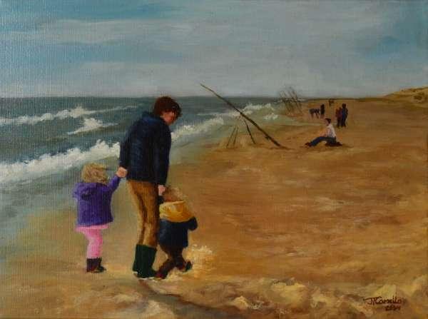 2004, Drietal op strand, 30x40, olieverf, J. Comello