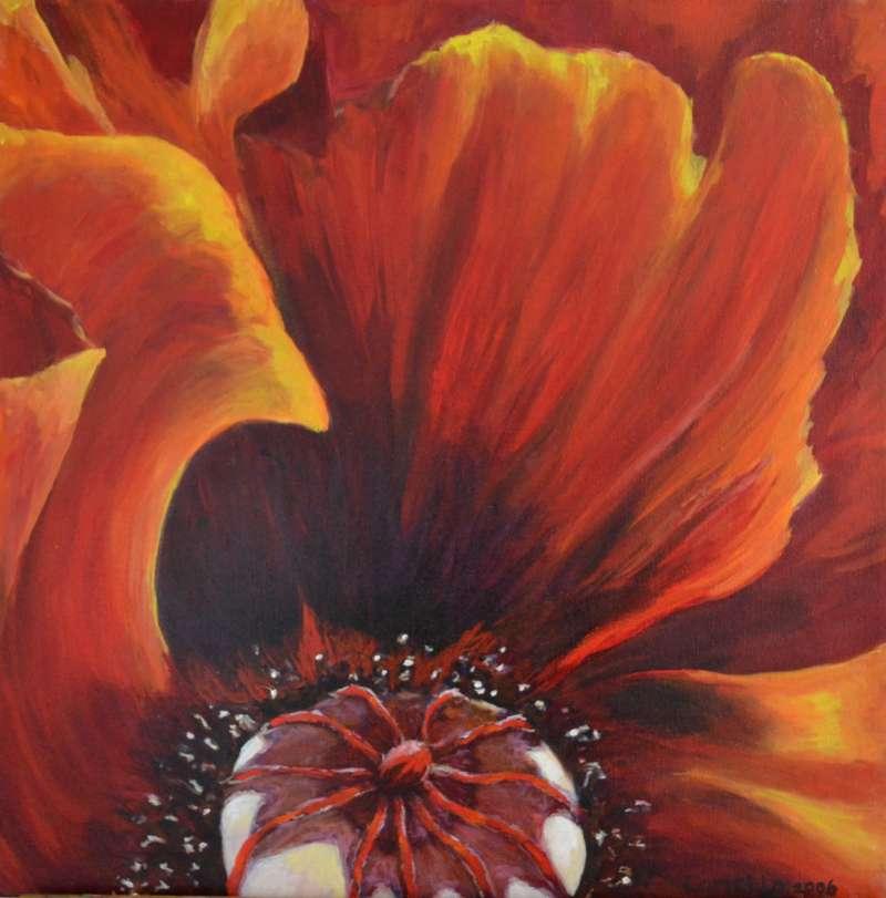 2006, Vlammend hart, 50x50, olieverf, J. Comello