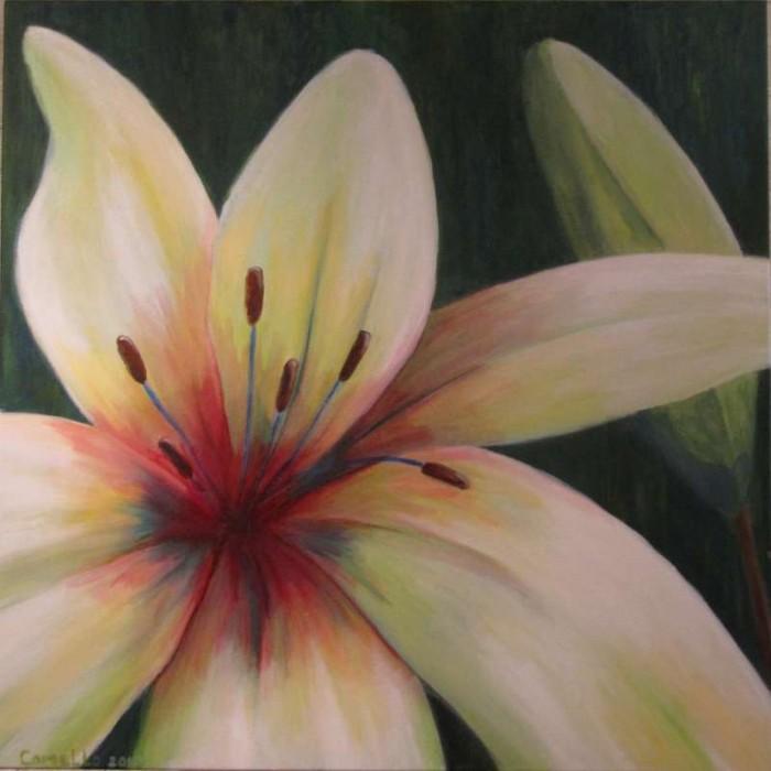 2008, Witte Lelies, 80x80, acrylverf, door J. Comello